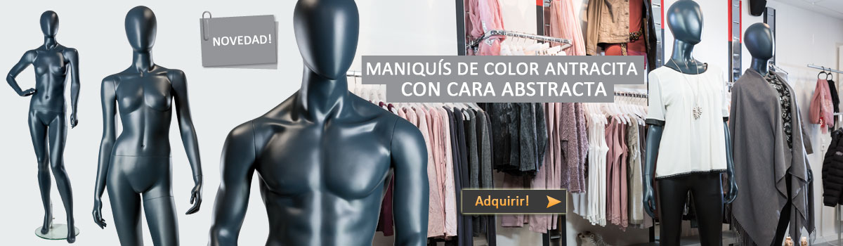 Maniquís de color antracita con cara abstracta